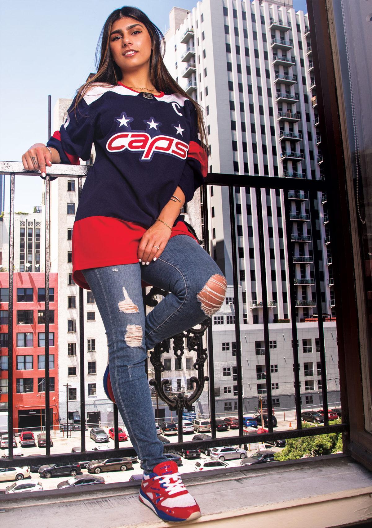 Mia Khalifa in a Hockey Jersey