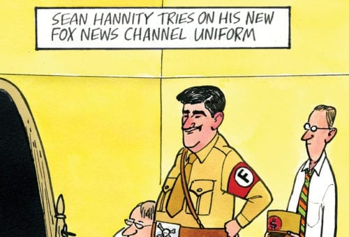 """Sean Hannity tries on his new Fox News channel uniform."""