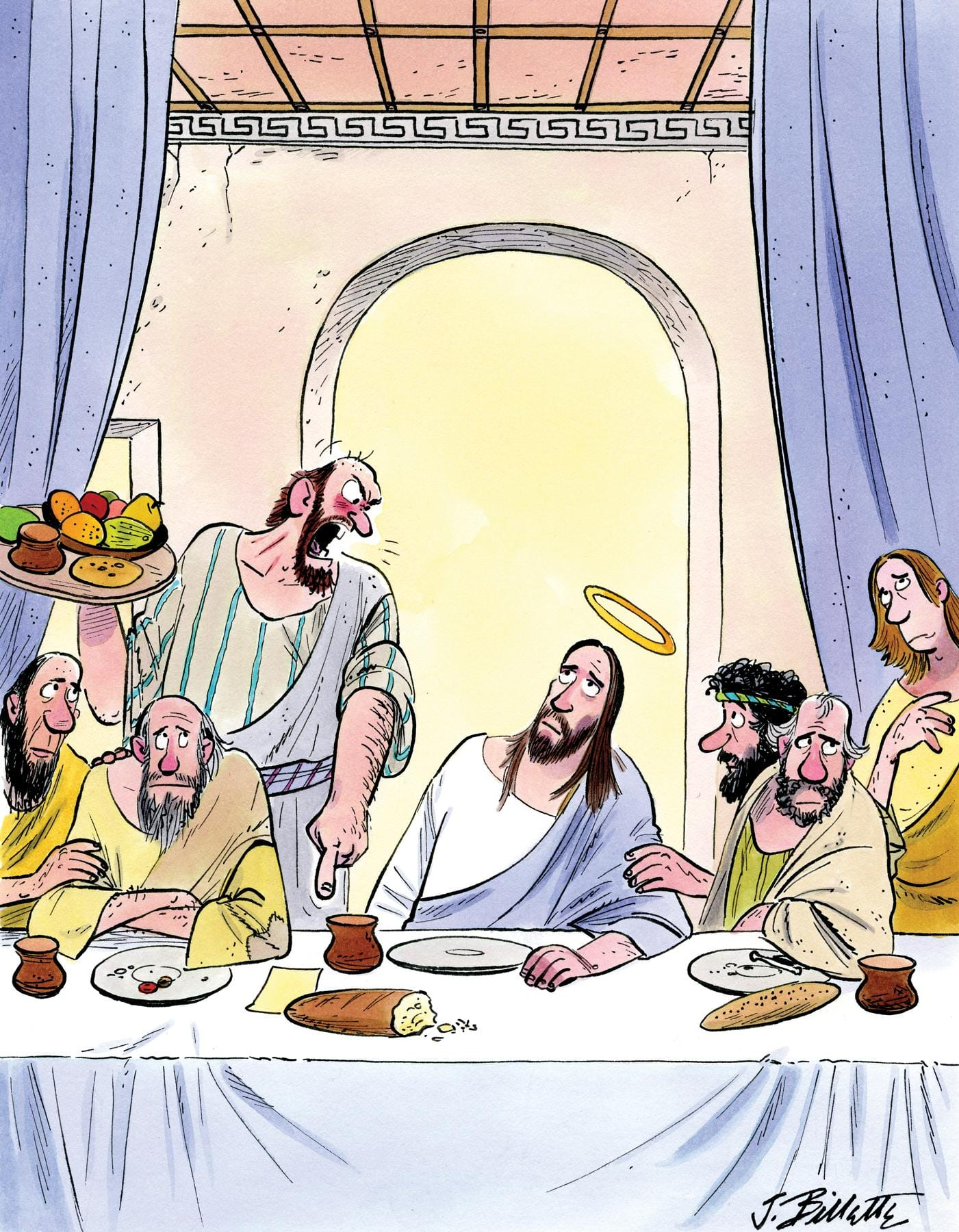 """""""Look, mister. If you don't come up with some cash, this will be your last supper in this establishment!"""""""
